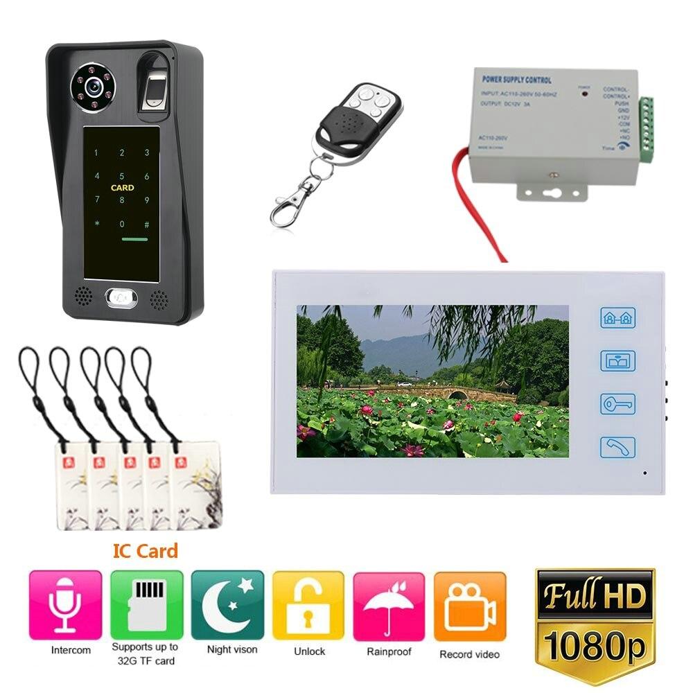 7 pulgadas de grabación con cable Video puerta teléfono timbre intercomunicador sistema con huella digital RFIC tarjeta AHD 1080P Cámara
