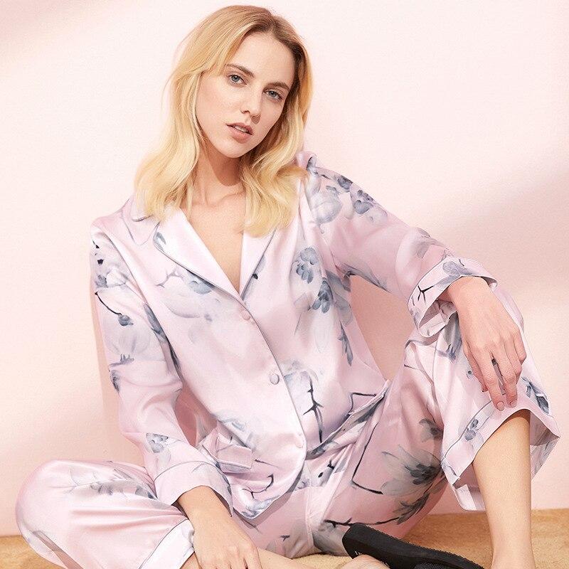 بيجامة من الحرير للنساء 100% بدلة رياضية من الحرير الخالص لفصل الخريف بنطلون بأكمام طويلة
