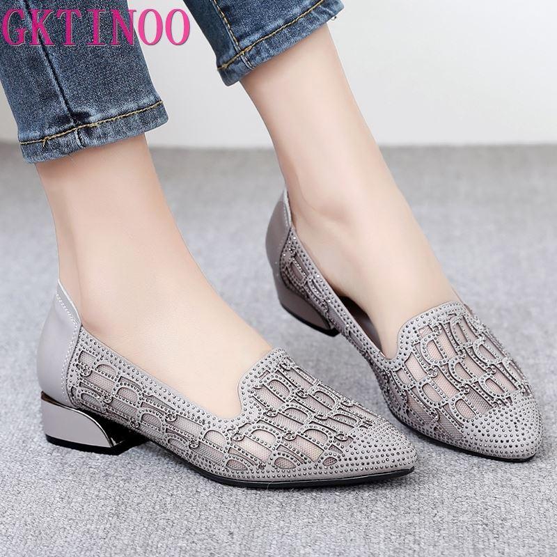 GKTINOO 2021 موضة الصيف الجوف خارج جلد طبيعي مضخات النساء أحذية منخفضة الكعب مربع كعب شبكة السيدات مكتب أحذية كريستال