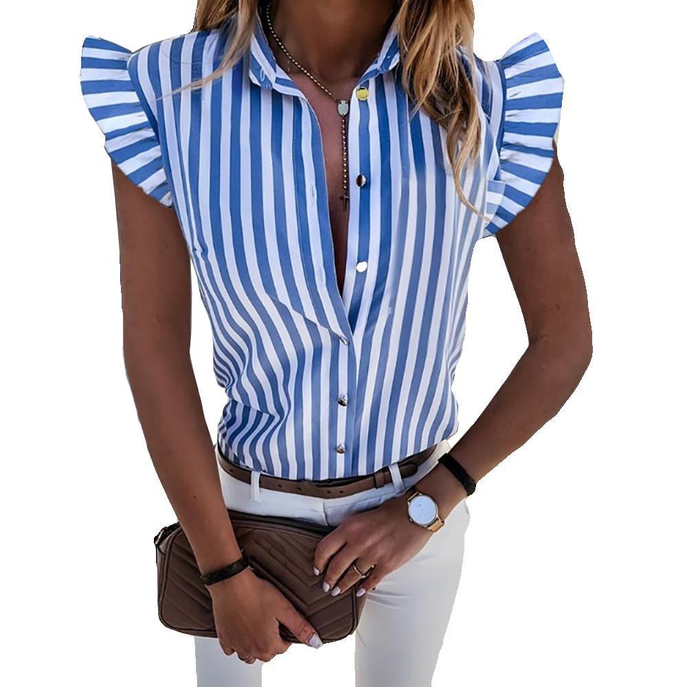 AliExpress - 2020 explosion models summer ruffled short-sleeved striped printed slim ladies shirt women
