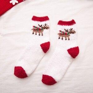 6 Pairs Christmas Santa Elk Snowflakes Casual Coral Fleece Socks Autumn Winter Warm Soft Fuzzy Sock for Women Lady