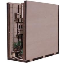Diagon Alley DIY Holz Kunst Buchstützen Montage Handgemachte Buch Modell Tisch Home Dekoration-Typ Mini + Warme Farbe RC licht