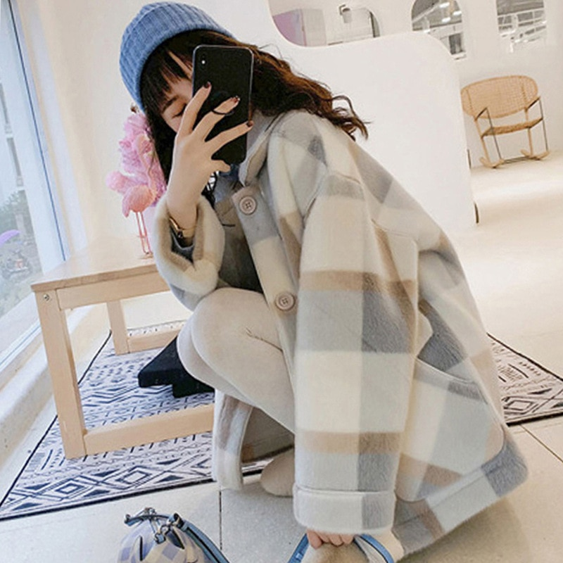 2021 Autumn Plaid Jackets For Women Fashion Wool Blends Faux Fur Coats Female Jacket Winter Coat Korean Loose Thick Warm Outwear