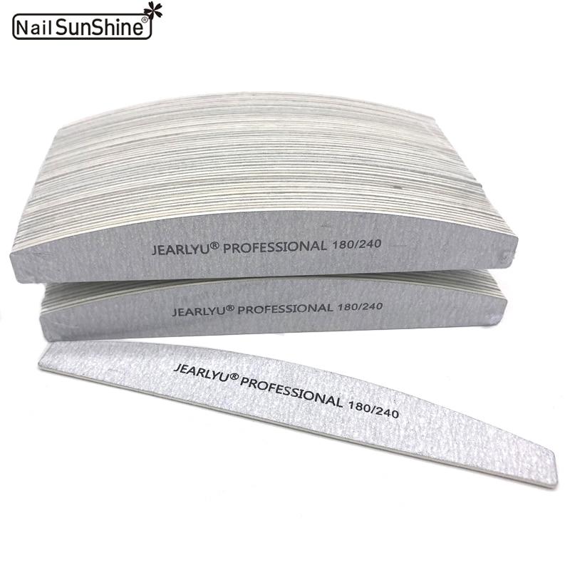100Pcs/lot Wooden Nail File 180/240 Nail Buffer For Manicure Grey Boat Thick Sandpaper Sanding Nail File New de limas Salon Tool
