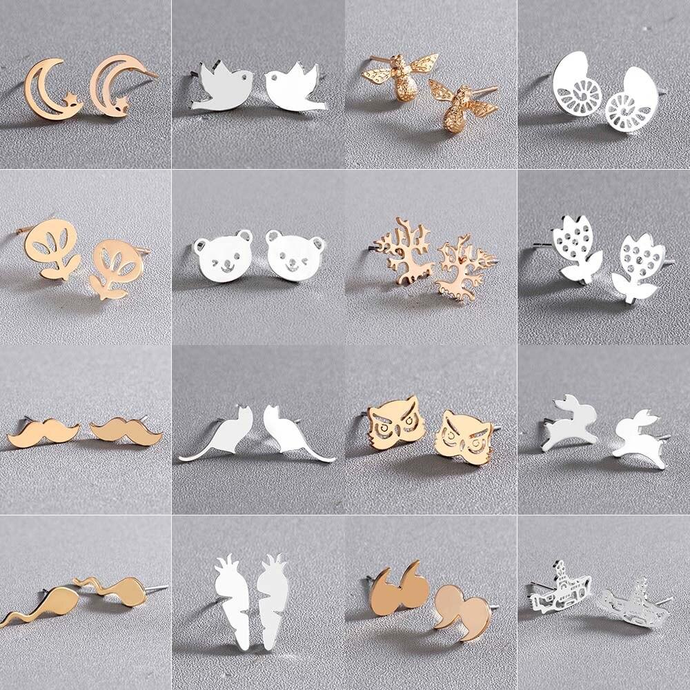 Женские серьги-гвоздики из нержавеющей стали в форме кролика и единорога Todorova, серьги в виде пчел с морковными усами, звездами и Луной