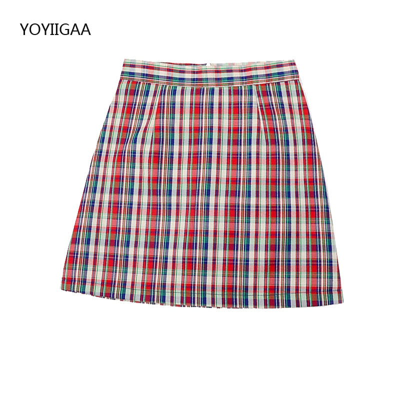 Spring Women's Short Skirt High Waist A-Line Female Plaid Mini Skirts Summer Sweet Ladies Girls Short Skirts Casual Mini Skirt