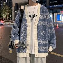 Cmaz Autumn Cardigan Paisley Sweater Men Fashion Brands Loose Couple Design Sense Niche Sweater Coat