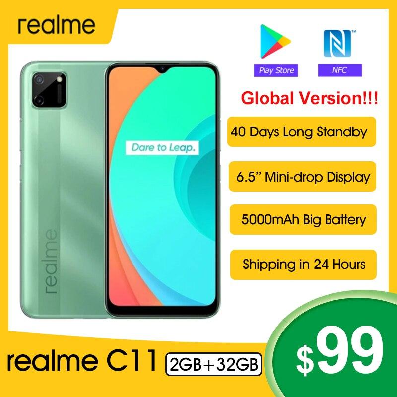 Оригинальный Realme C11 смартфон 6,5 дюйм 5000 мА/ч, большая Батарея 40 дней в режиме ожидания 3-слот для карт андроид 13MP Камера мобильный телефон