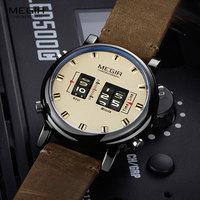 Часы MEGIR мужские наручные кварцевые цифровые, роскошные Брендовые с кожаным ремешком, новая армейская модель 2019, 2137