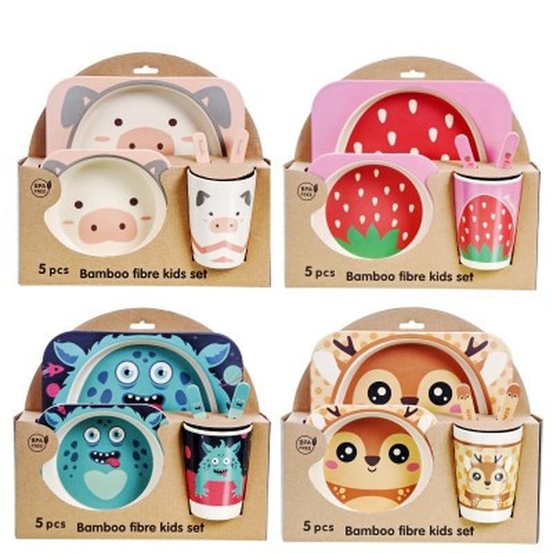 Бамбуковый детский набор столовых приборов, детская посуда, портативный креативный мультяшный детский сад, детская отдельная миска, ложка, чашка, набор посуды