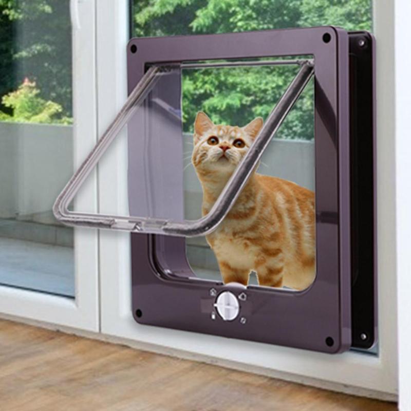 Puerta con solapa de Gato con cerradura de 4 vías puerta con solapa de seguridad para perro gato gatito puerta pequeña para mascotas Kit de puerta de gato suministros para mascotas