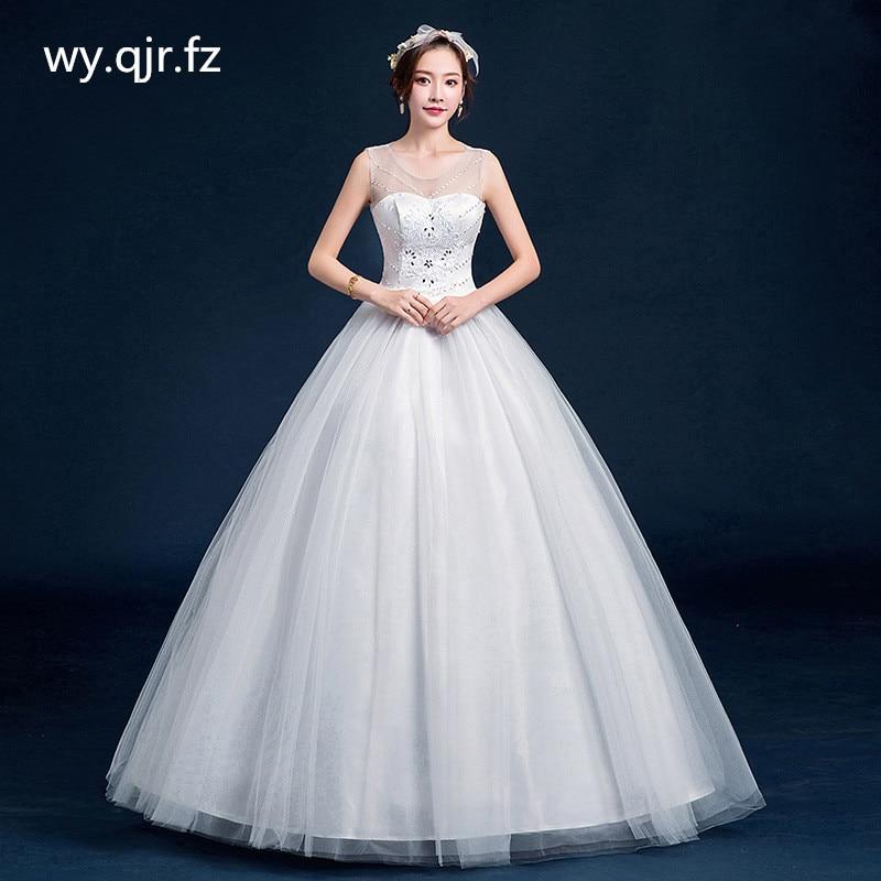 DM-1921 # العروس فستان الزفاف الكرة ثوب س الرقبة الجملة الدانتيل يصل الترتر استوديو الصور حجم كبير الأورجانزا مع الفتيات التطريز