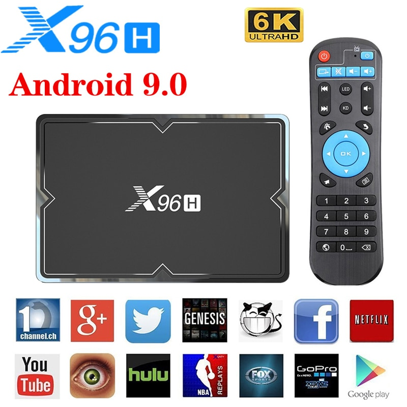 X96H Android 9.0 TV Box Allwinner H603 4GB RAM 64GB ROM 6K 4K lecteur multimédia 2.4/5G WiFi BT4.1 Google Play Smart TV Box PK X96max