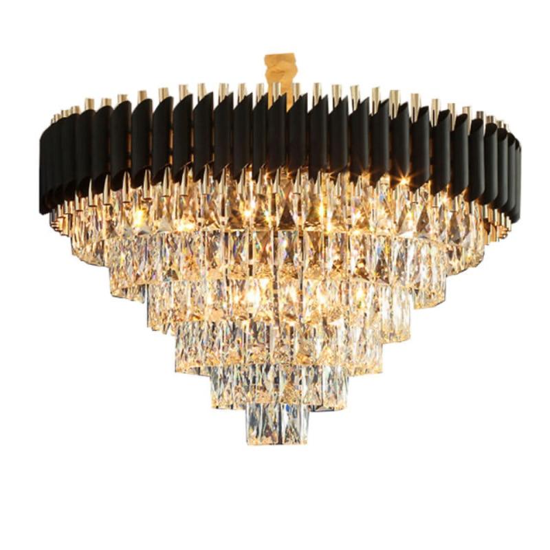 الحديث الأسود الإطار كريستال قلادة أضواء المطاوع الإبداعية الفاخرة فيلا مطعم كريستال الثريا