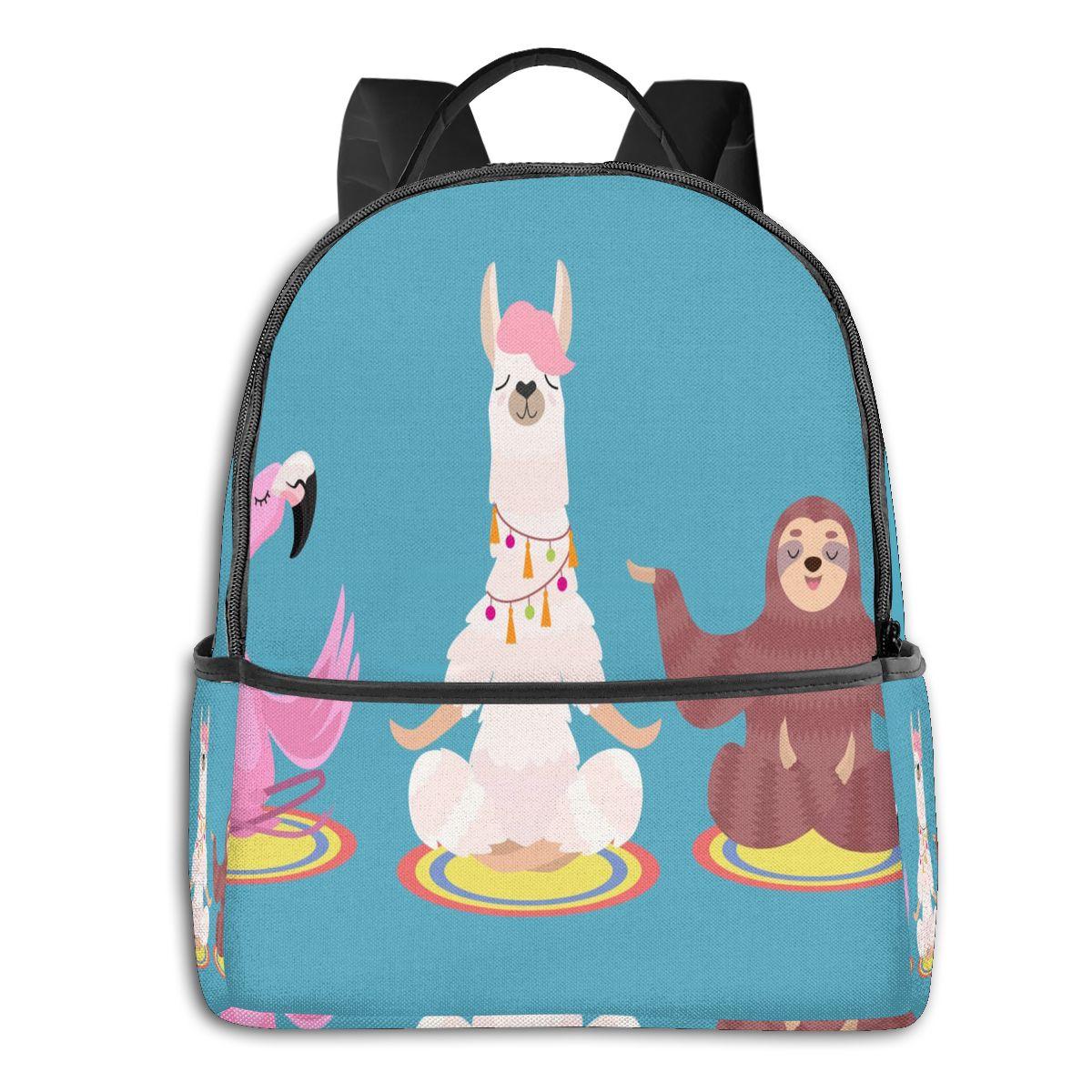 حقيبة ظهر عادية لطيف الكسل اللاما و فلامنغو موضة فريدة من نوعها حقيبة مدرسية الكتف للطلاب المراهقين