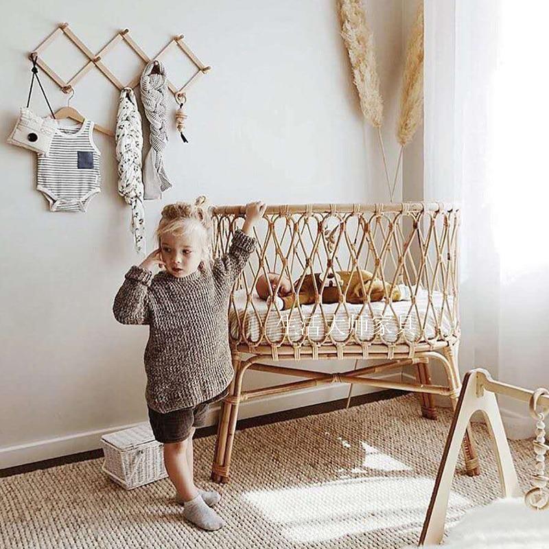 GY الروماني الطفل الروطان السرير الفرنسية الطبيعية الرجعية نمط اليدوية المذاق الروطان المنسوجة سرير الأطفال سرير الاطفال مهد