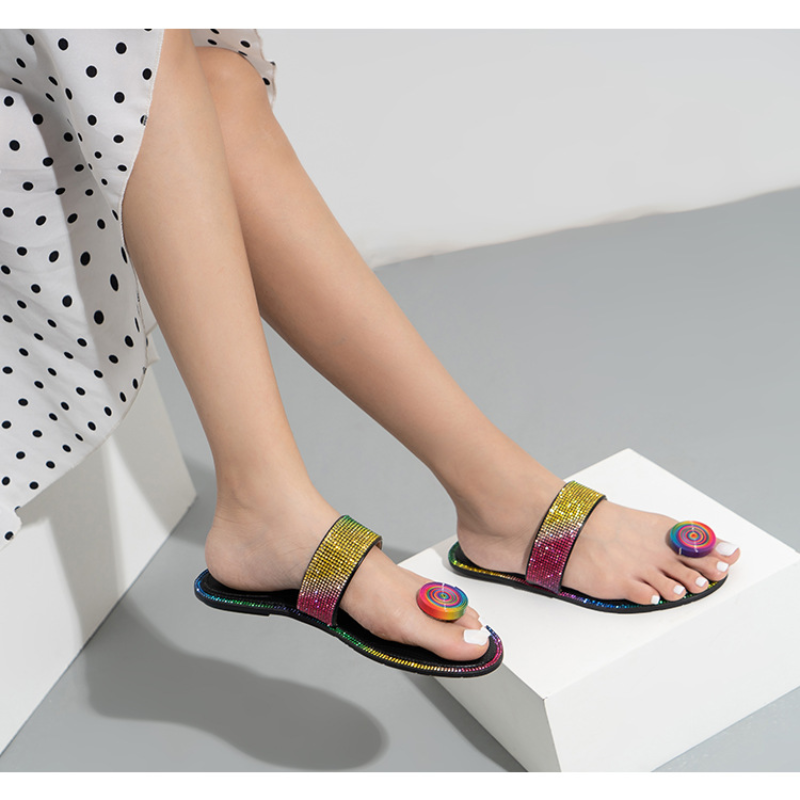 Color Rhinestone Flip Flops Women Fashion Round Toe Design Women Sandals Summer Outdoor Flat Peep Toe Sandals for Women 2021