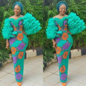 Aso Ebi Green Mermaid Evening Dresses Floral Appliques Puff Long Sleeves Ruffles Plus Size Prom Dress African vestidos de fiesta