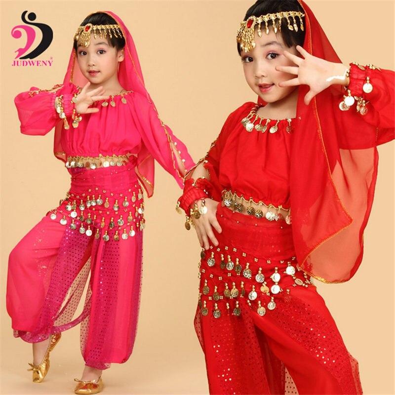 Conjunto de traje de danza del vientre ropa india de manga larga para niños, danza del vientre, actuación de baile, ropa para escenario, trajes de danza del vientre para niñas