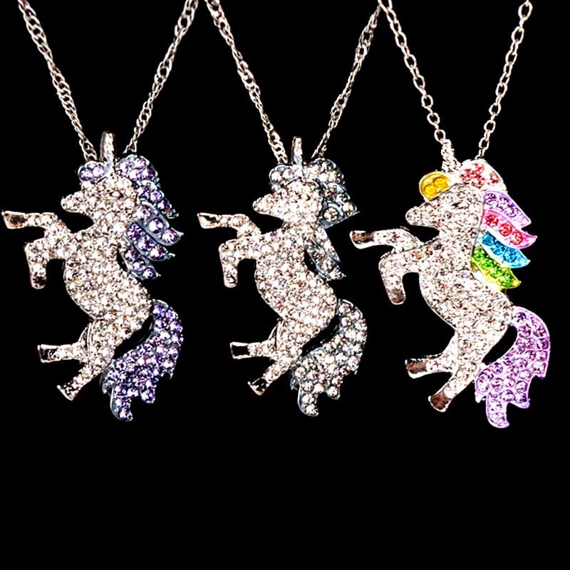 Fashion Purple Colorful White Crystal Unicorn Metal Pendant Chain Necklace Women Girl Jewelry Gift