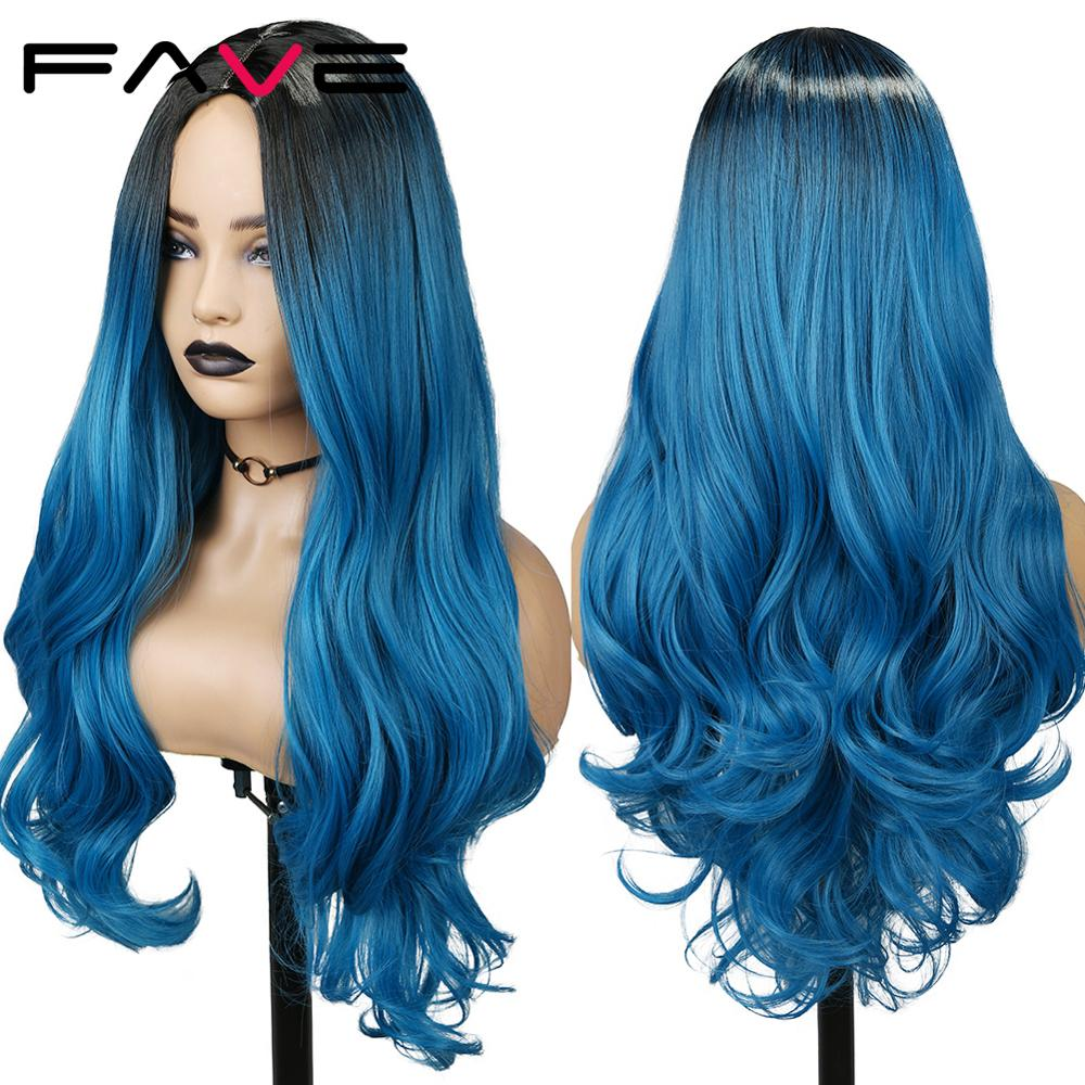 Fave ondulado preto azul peruca sintética para mulher resistente ao calor longo cosplay ombre rosa vermelho verde azul roxo borgonha loira cabelo