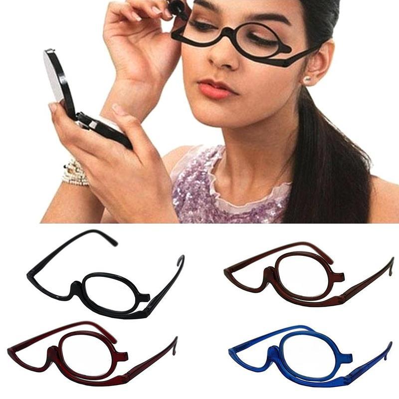 Lupa girando maquiagem óculos de leitura dobrável óculos cosméticos geral + 1.0d 1.5d 2.0d 2.5d 3.0d 3.5d 4.0d