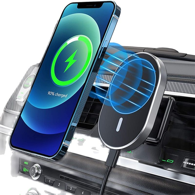 Review Magnetic Wireless Car Charger AirVent Mount Compatible With For Magsafe iPhone 12 ProMax Mini 15W Fast Charging Car Phone Holder