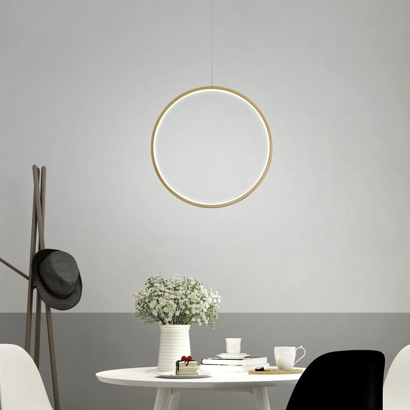 Modern Hanging Circle Round Pendant Light Creative Vertical Ring Lamp for Dining Room Office Simple Lighting Fixture