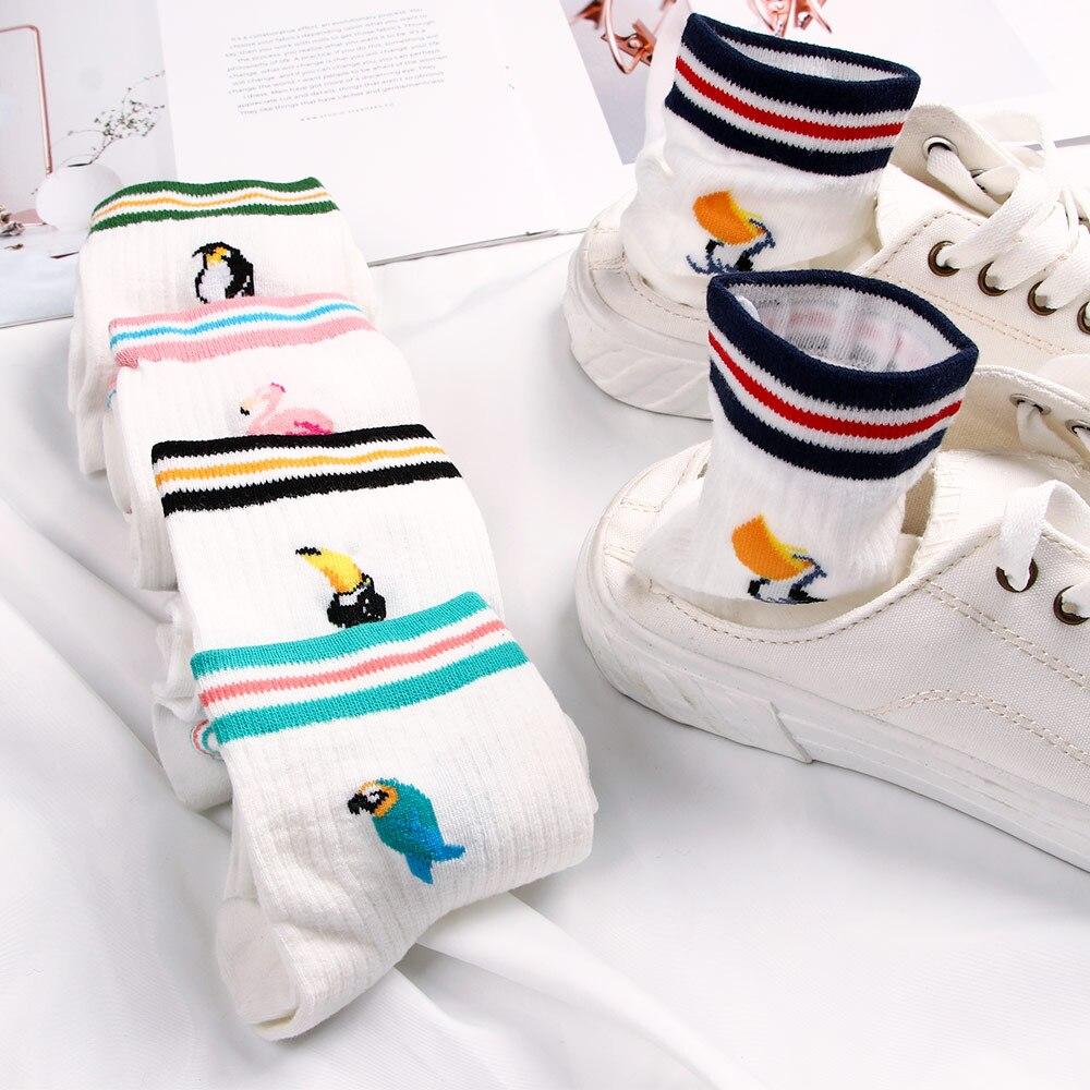 Fashion Cartoon Flamingo Penguin Crow Parrot Printing Socks Women White Cute Animals Birds Pattern Socks Funny Harajuku Art sox