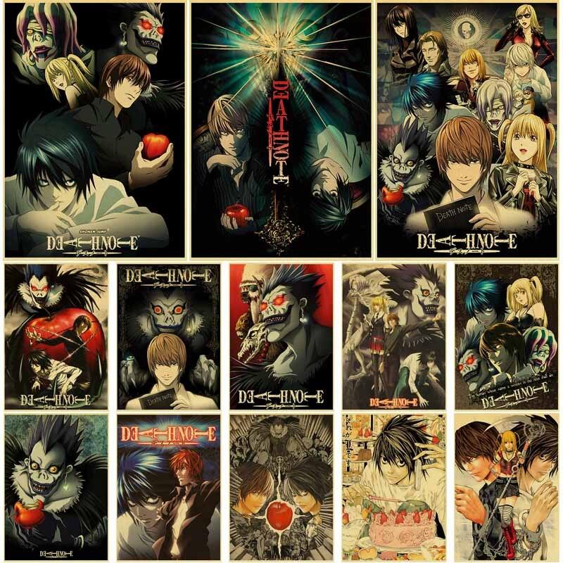 Постеры классические из аниме «Death Note», ретро-постеры из крафт-бумаги в стиле комиксов, домашний Настенный декор, украшение бара, комнаты, жи...