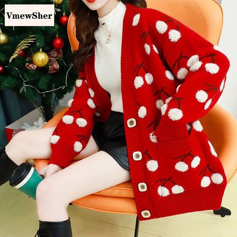 VmewSher-كارديجان نسائي محبوك بطبعة فاكهة الكرز ، سترة فضفاضة بصدر واحد ، أكمام طويلة ، جيوب ، ملابس تريكو ، بلوزات عصرية