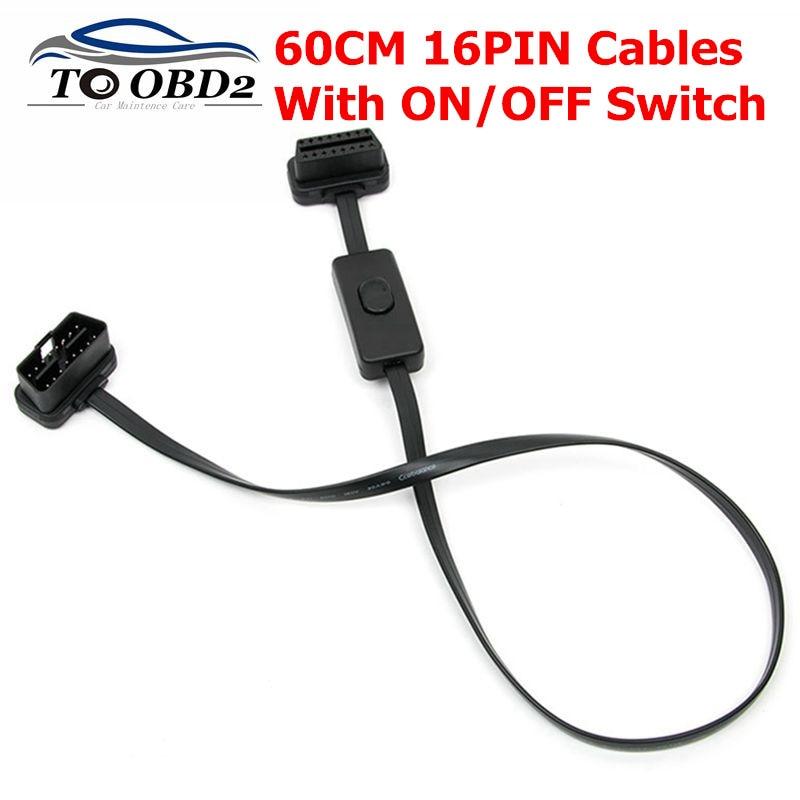 16 Pin macho a hembra OBD2 conector adaptador de extensión 60cm 16PIN cables de extensión con interruptor de encendido/apagado a evitar que la batería daño