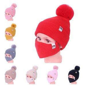 Thick Knitted Acrylic Winter Beanie Hats For Kids Child Outdoor Warm Balaclava Cap Girls Boys Bib Mask Face Cover Hairball Hat
