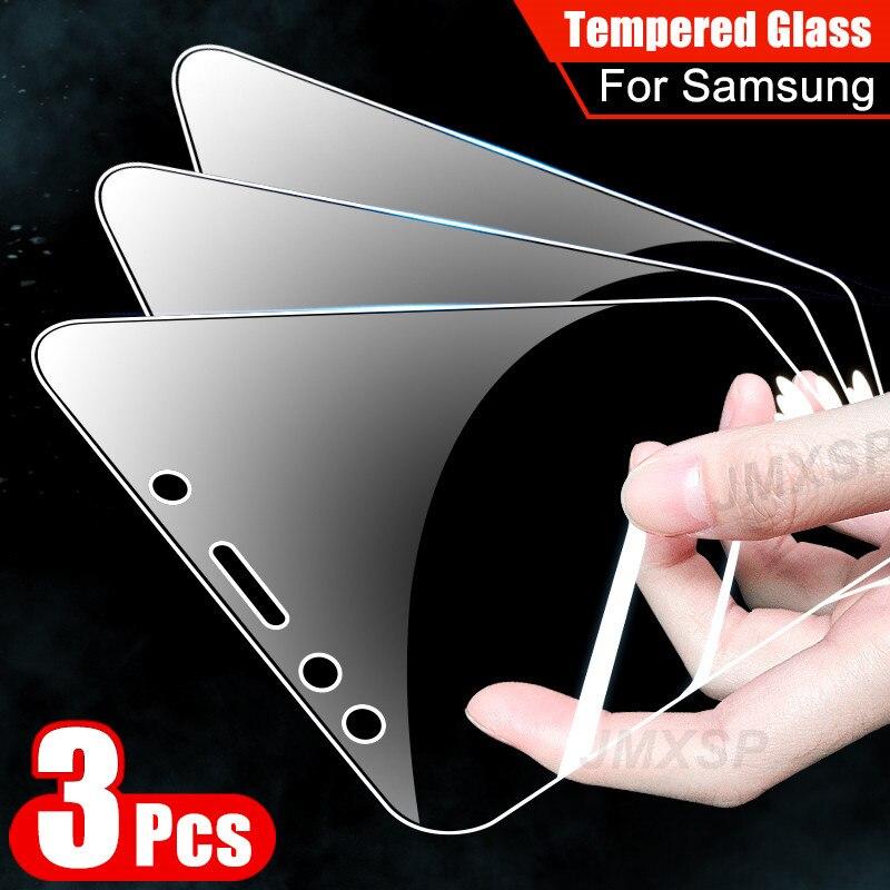 3Pcs Tempered Glass For Samsung Galaxy A8 A6 J4 J6 Plus 2018 Protective Glass For Samsung A7 A9 J8 2018 A40 A60 A80 A90 Glass
