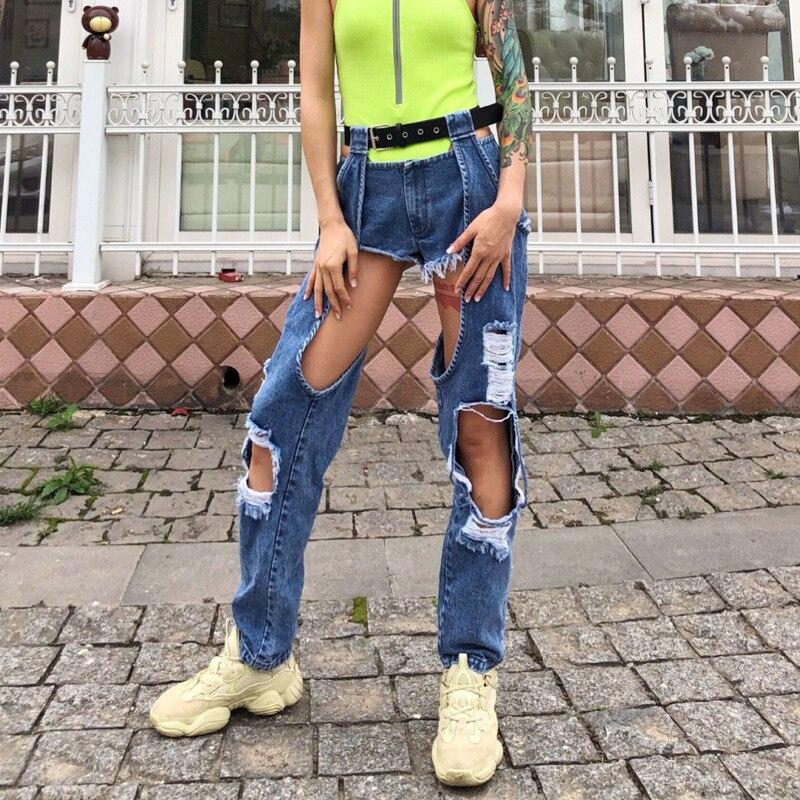 بنطلون جينز نسائي ممزق بفتحات ، بناطيل طويلة مستقيمة ، ملابس الشارع المثيرة ، خصر عالي ، قطعة واحدة ، موضة 2020