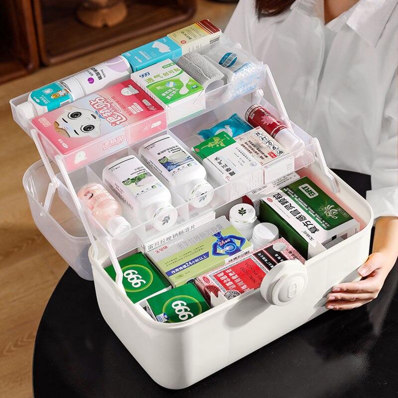 متعدد الطبقات واضح غطاء المحمولة الطب الصدر المنظم صندوق تخزين كبير للطي مقبض صندوق عدة الطوارئ المنزل الإسعافات الأولية