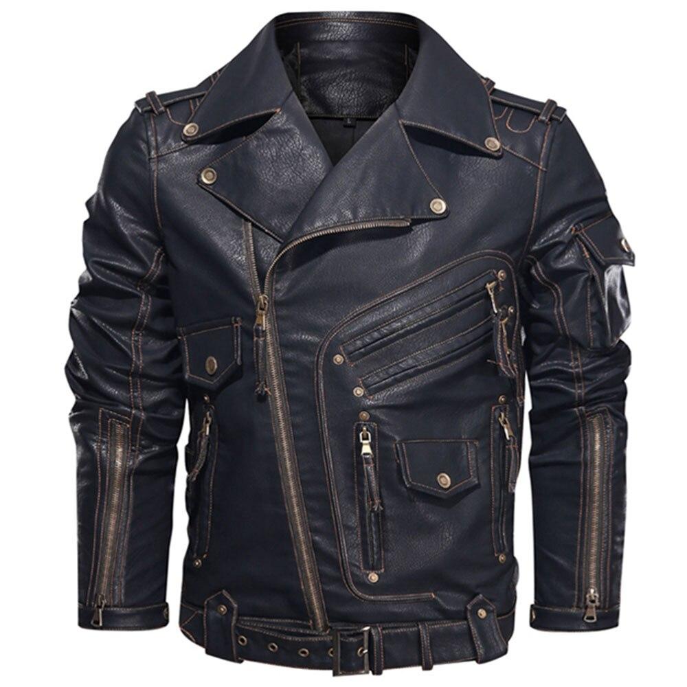 الشتاء الرجال سترة جلدية الرجال موضة دراجة نارية بولي Leather سترة جلدية باردة سستة جيوب المعاطف الجلدية الاتحاد الأوروبي حجم