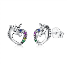 ZEMIOR Romantic Horse 925 Sterling Silver Stud Earrings For Women Cubic Zirconia Earring Anniversary