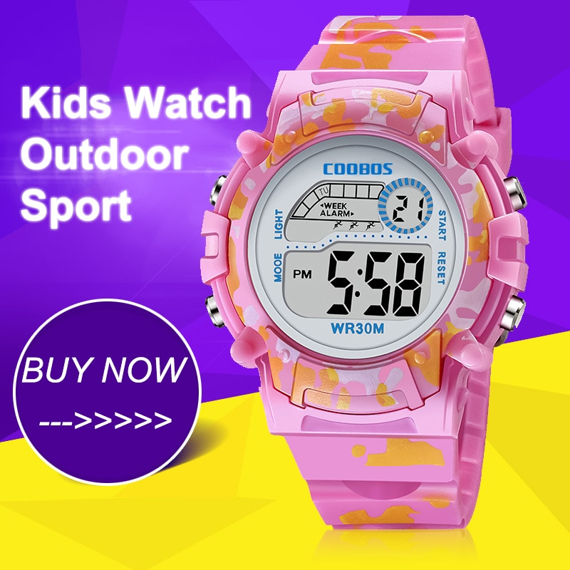 ohsen brand mens boys digital sports watches waterproof rubber band wristwatch led colorful backlight red army kids watch gift Pink Colorful Kids Watches New Digital Waterproof Luminous Watch For Boys Girls Sports LED Alarm Bubber Children Wristwatch 2020