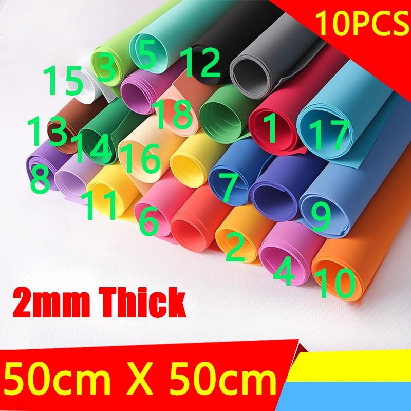 10 pçs 2mm de espessura 50x50cm foamiran esponja papel artesanal artesanato eva diy artesanato materiais corte espuma papel berçário decoração