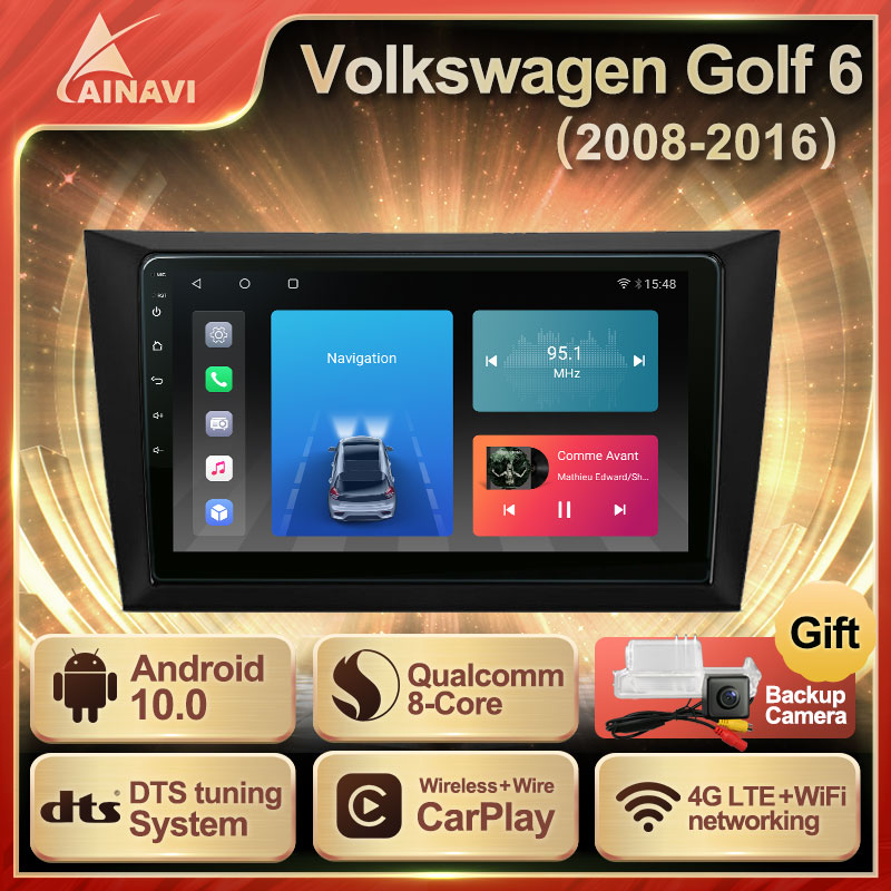 Car Radio Android 10.0 QLED Screen For Volkswagen VW Golf 6 2008-2016 Auto Stereo Multimedia Player Navigation Carplay No 2 din
