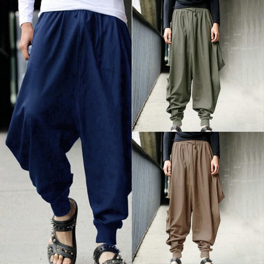 Homem estilo chinês calças de algodão haroun calças soltas casual roupas tradicionais chinesas para homem hakama samurai traje hip hop