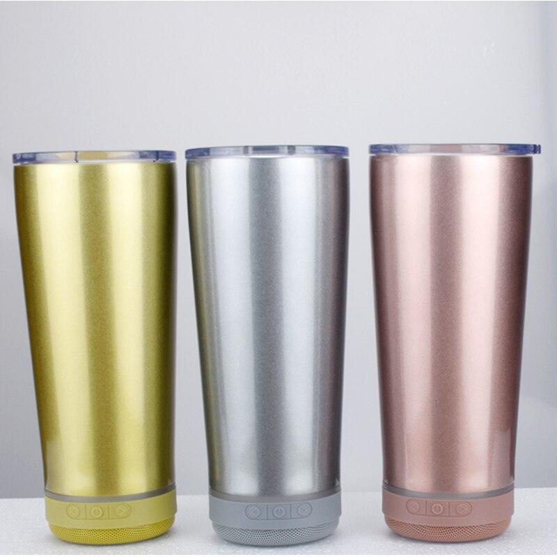 جديد 18 أوقية المتكلم بهلوان الموسيقى كأس الذكية زجاجة المياه الفولاذ المقاوم للصدأ اللاسلكية المياه برهان ل عيد الأب هدية دروبشيبينغ