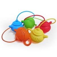 tea accessories creative teapot shape tea infuser strainer silicone tea bag leaf filter diffuser tea strainer