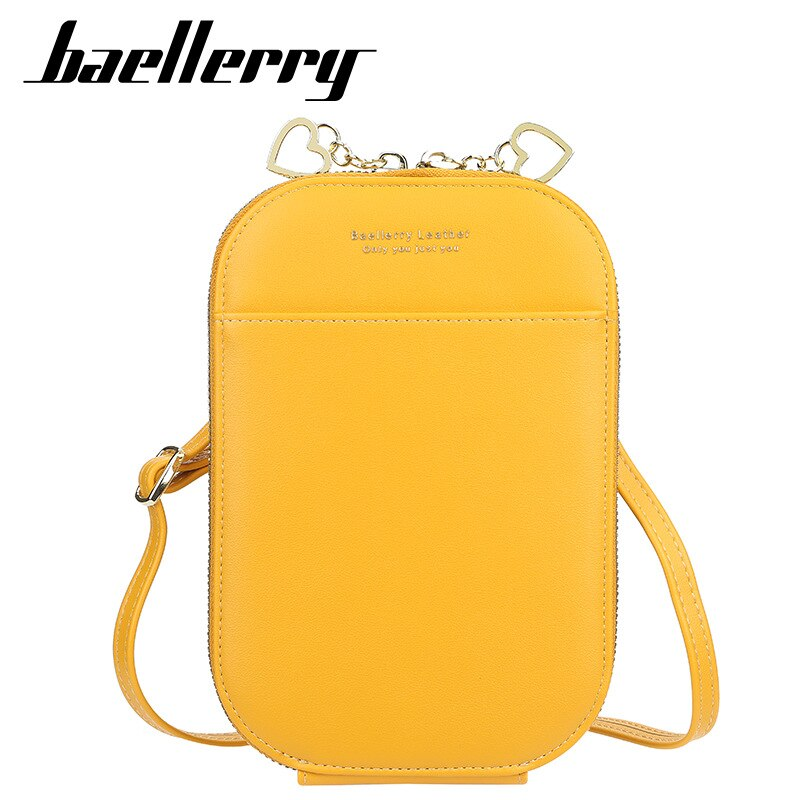 Baellerry Pures-محفظة نسائية ، سعة كبيرة ، سحاب ، متوسط الطول ، كروس ، جسم ، لون الحلوى ، هدية جيدة ، دعم نقش الاسم