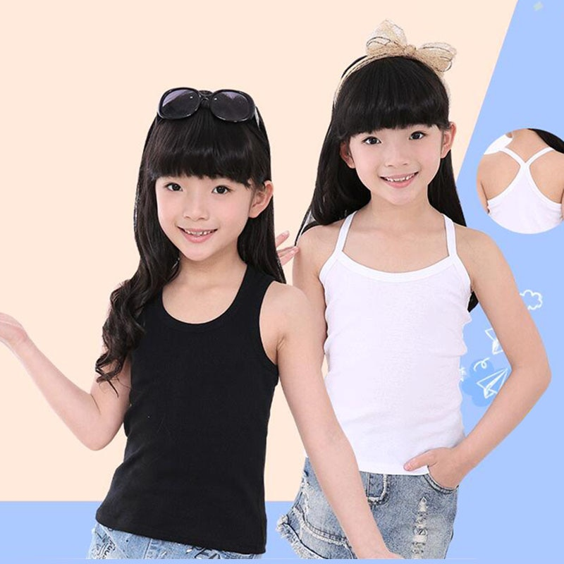 Hot Summer Casual Baby Girls Vests T-shirts Y-neck Suspenders Sports Vest Thin Girl Solid Tops Clothes Cotton Tees 3-12 Years