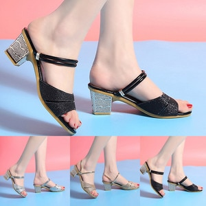 Summer Sandals Womens Open-Toe Sandals Casual Solid PU High Heel Slippers Rhinestones Ladies Female Soft Beach Shoes M50#