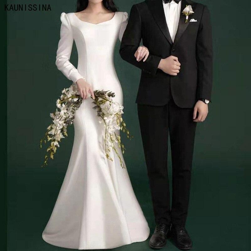 KAUNISSINA أنيق كم طويل حورية البحر فستان الزفاف الخامس الرقبة الساتان طول الأرض فساتين الزفاف للعروس رداء بسيط دي ماري
