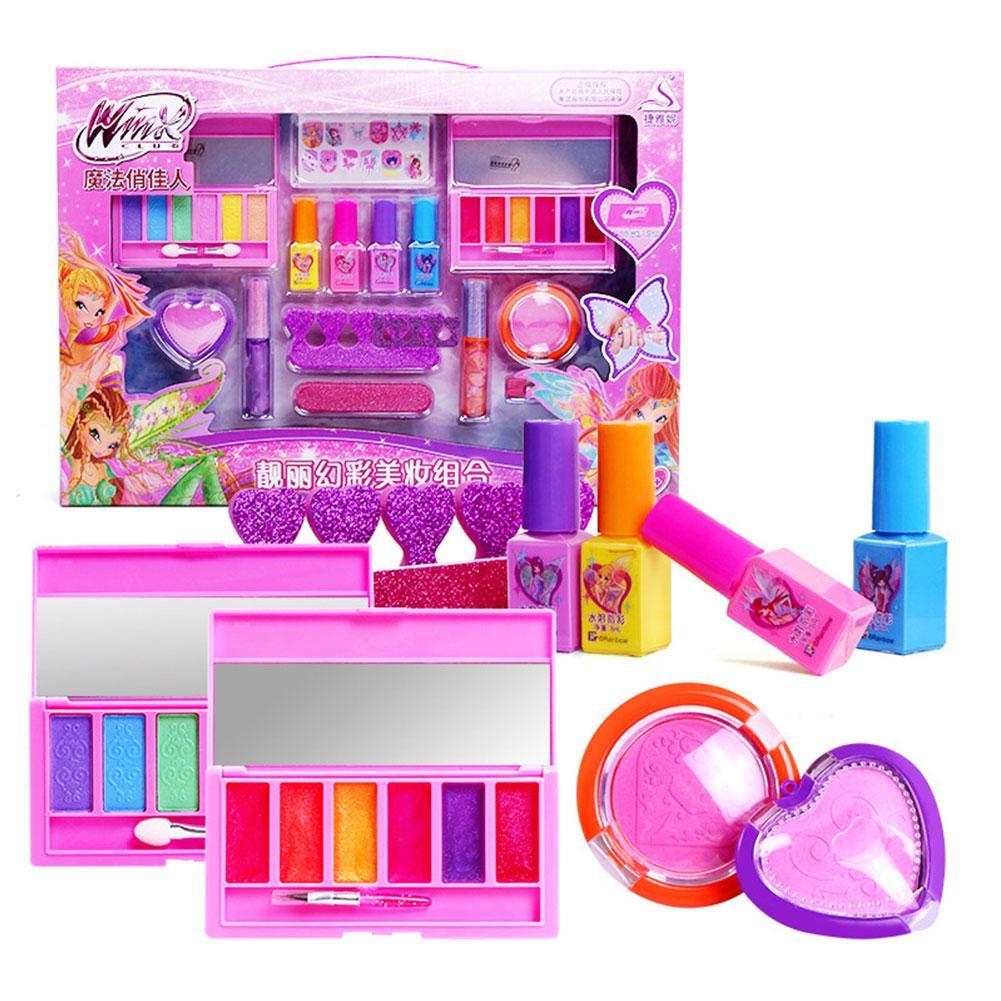 Kids Make Up Toy Set Pretend Play Princess Pink Makeup Kit Cute Eyeshadow Blush Toys For Girls Dressing Cosmetic Girl Gifts