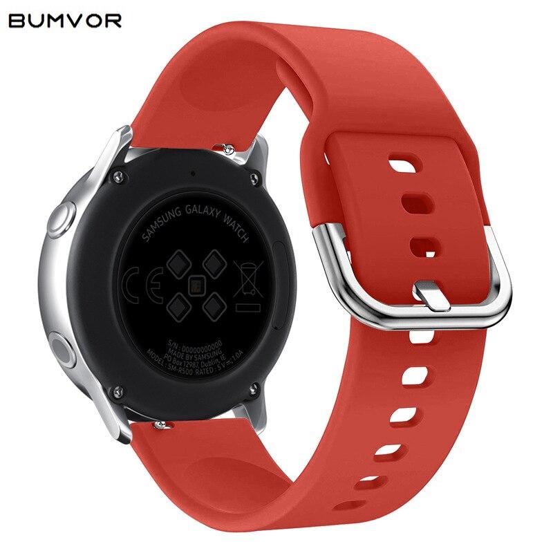 Correa de silicona para reloj Samsung Galaxy Watch Active, correa de silicona de 20mm 22mm para reloj deportivo Gear S2 de 42mm, correa de repuesto para Gear S3 R380